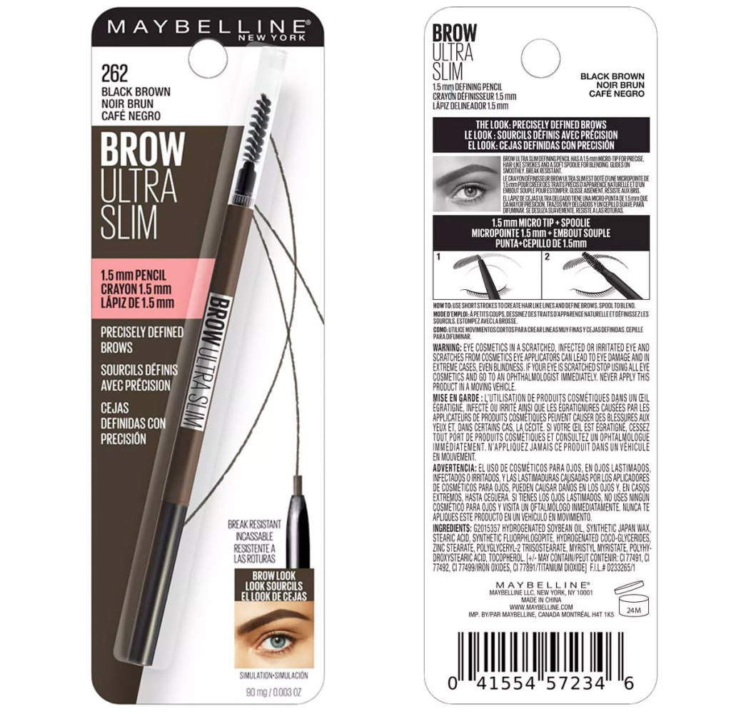 front and back package of a brow pencil