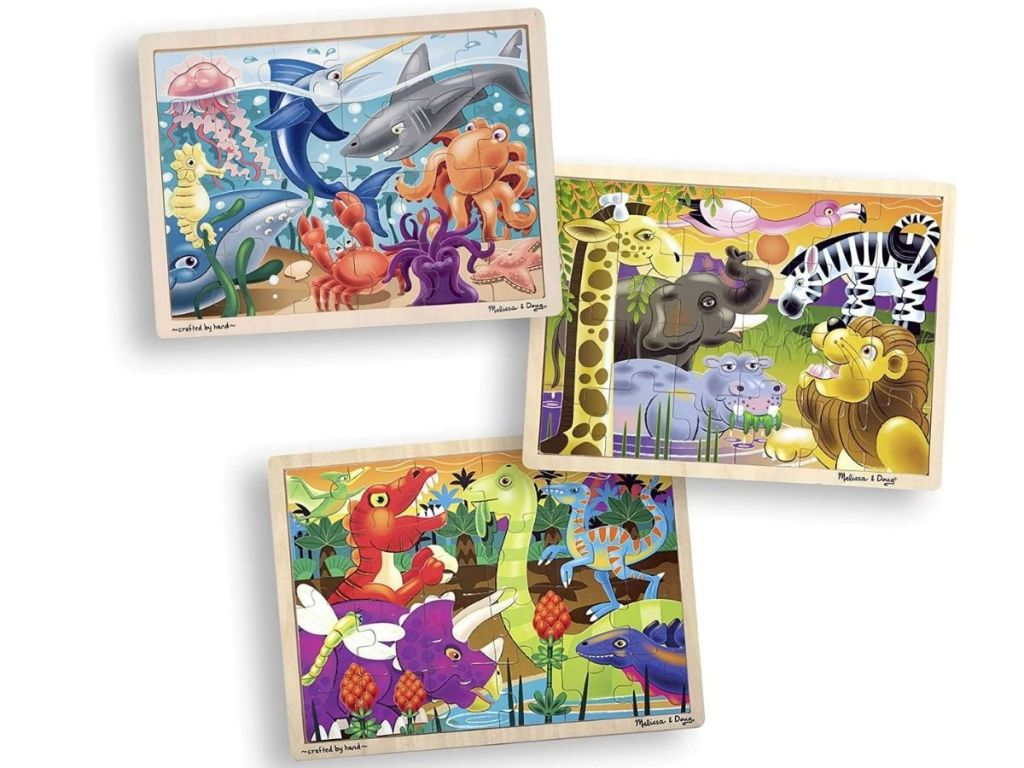 ocean, safari, and dinosaur puzzles