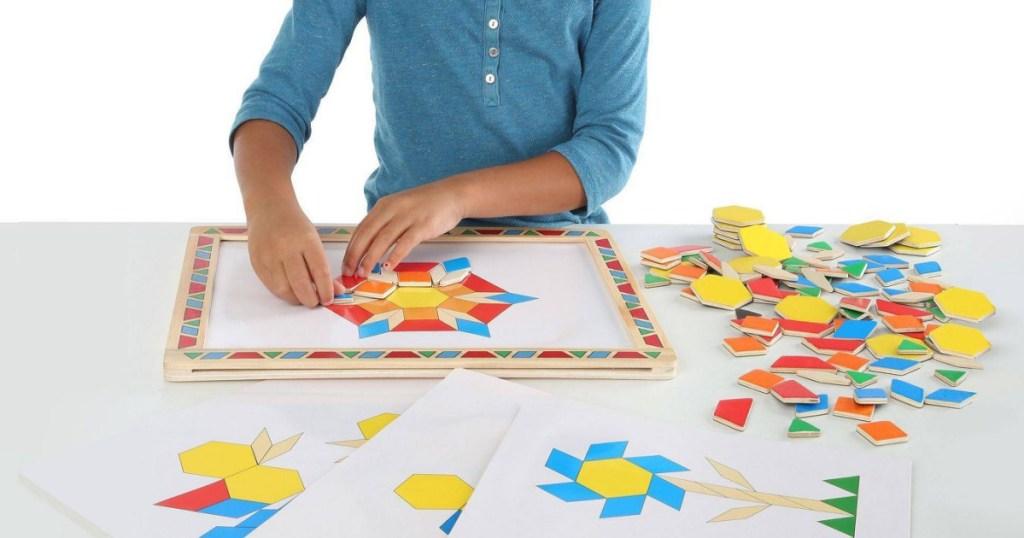 Melissa & Doug Deluxe Wooden Magnetic Pattern Blocks Set