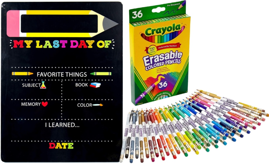 My First & Last Day of School Wooden Chalk Board Sign and Crayola 36-Count Erasable Colored Pencils