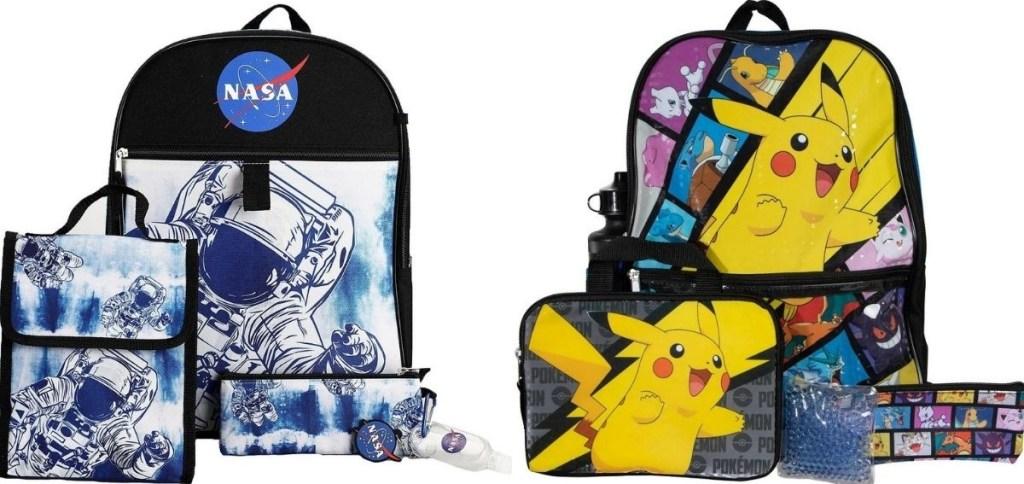 NASA and Pokemon Kids Backpack Sets