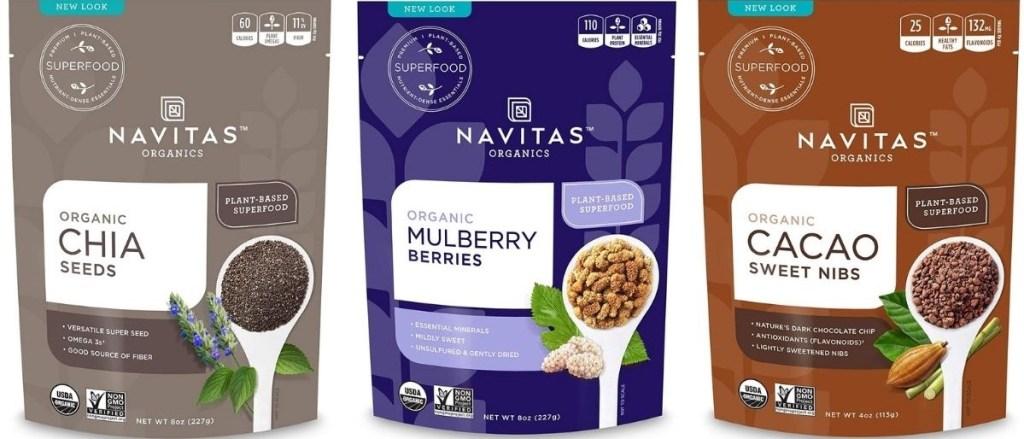 three bags of Navitas Organics products
