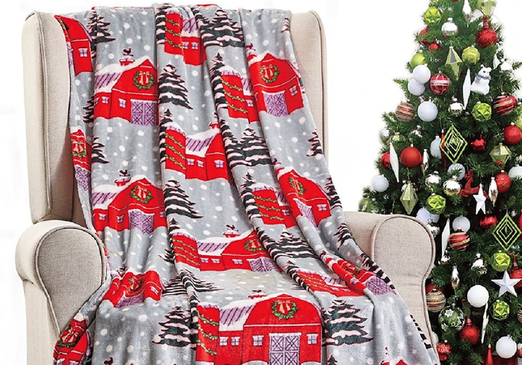 Noble House Gray & Red Snow Barn Throw Blanket