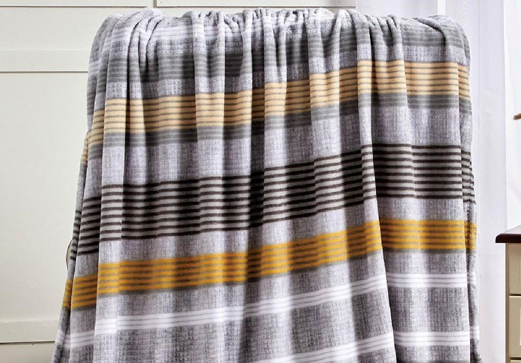 Noble House Gray & Yellow Stripe Brea Throw Blanket