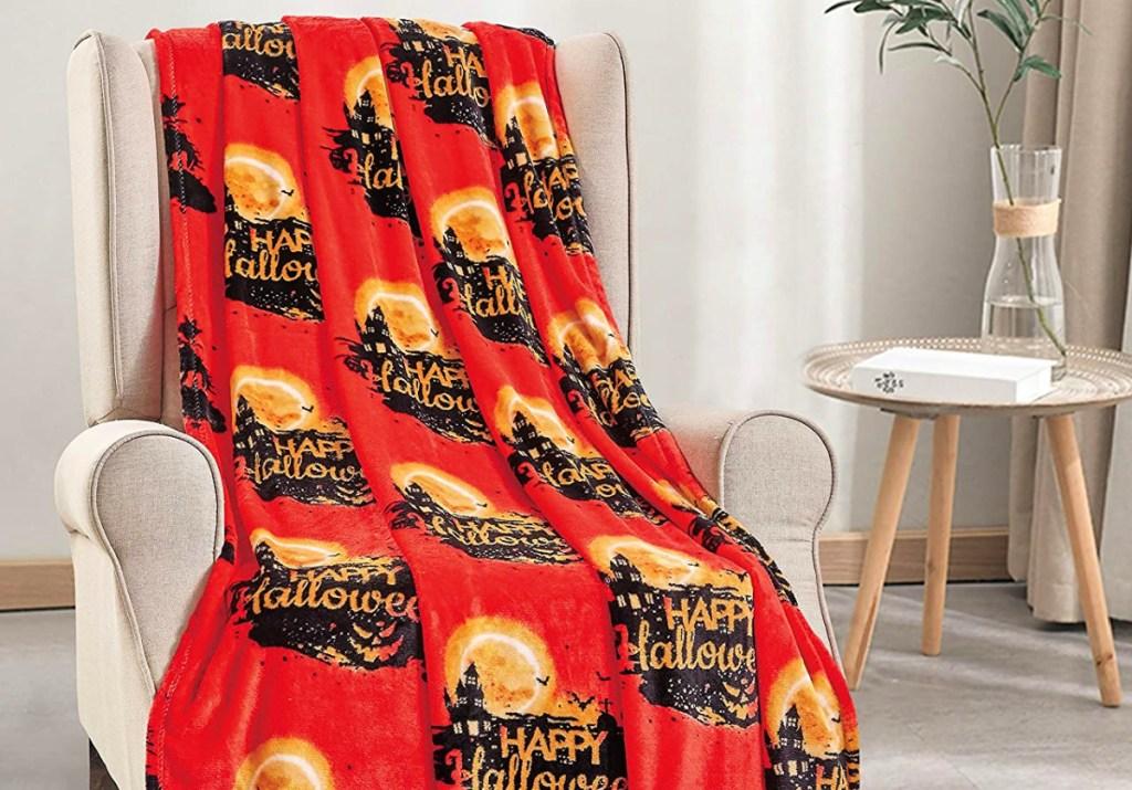 Noble House Orange & Black 'Happy Halloween' Haunted House Throw Blanket