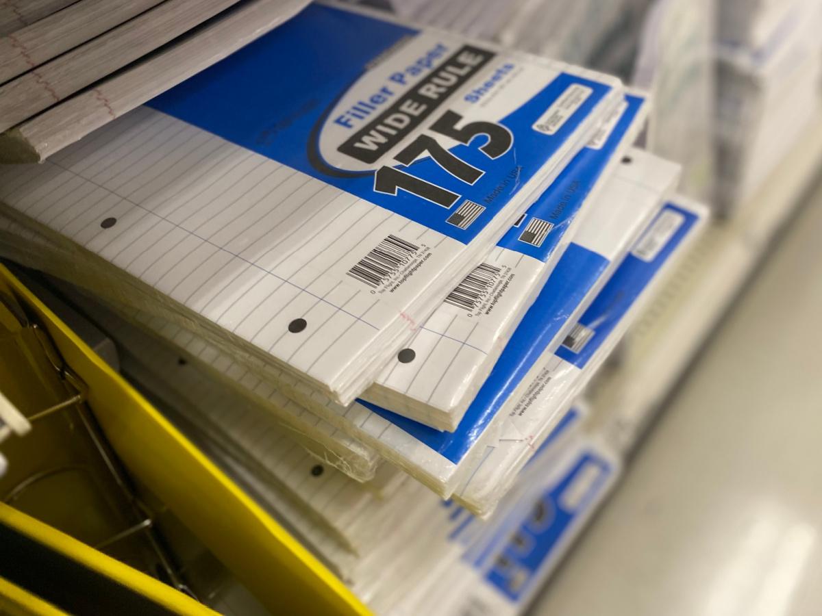 wide ruled filler paper on shelf