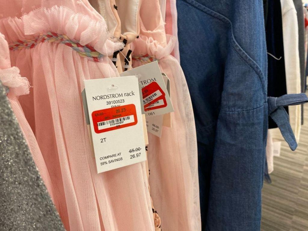 rack of girls skirts