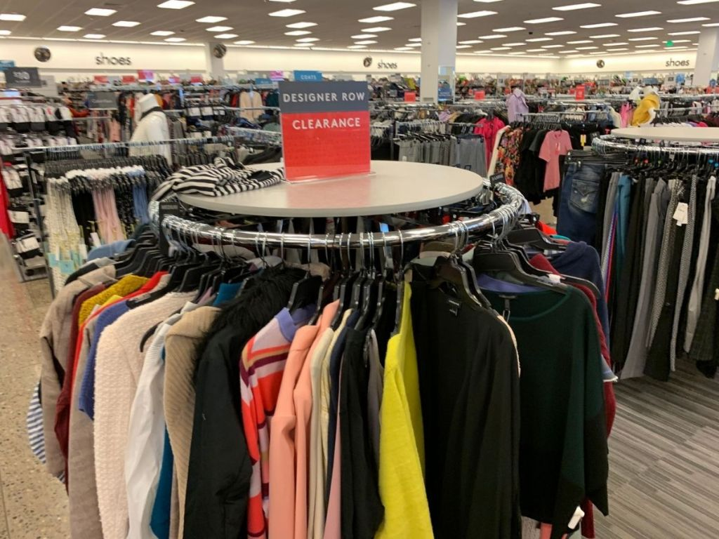 rack of women's sweaters