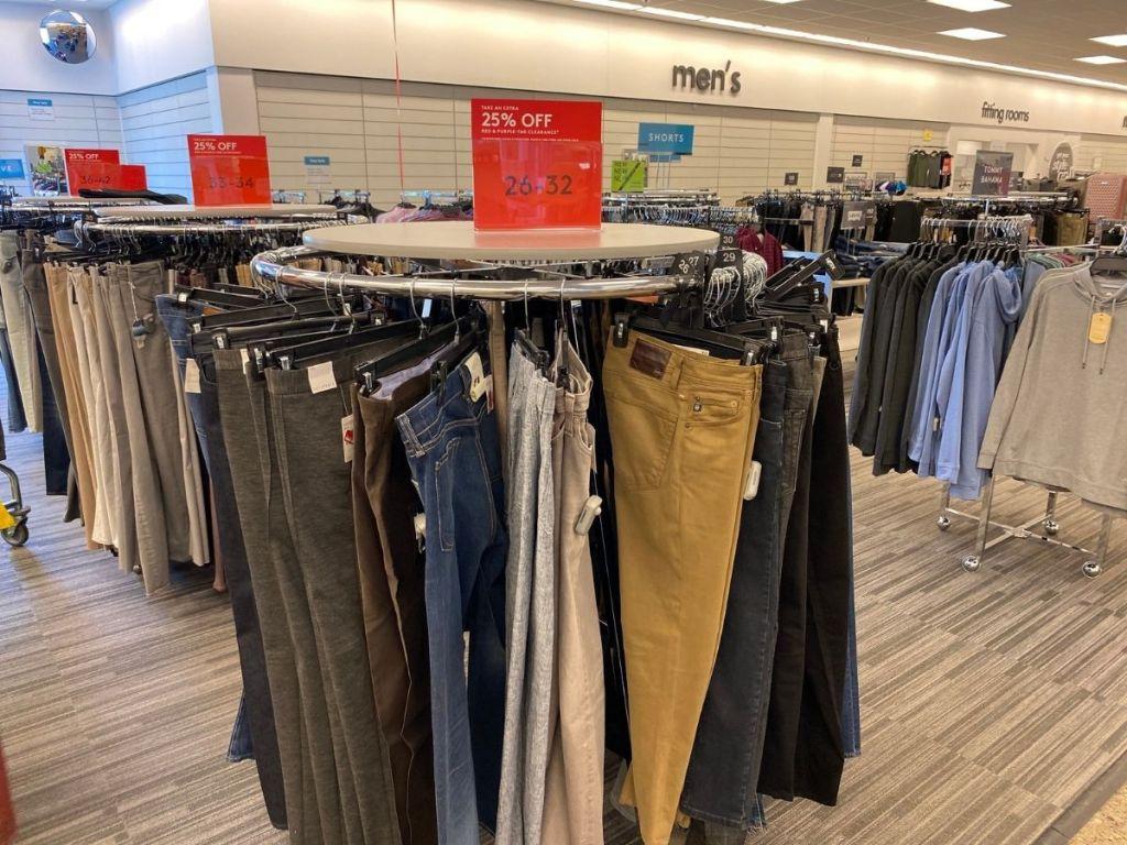 rack of mens pants