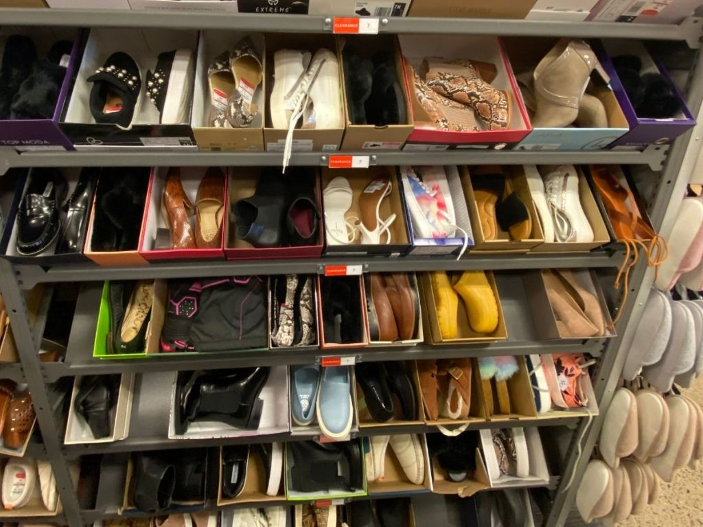 rack of shoes in store