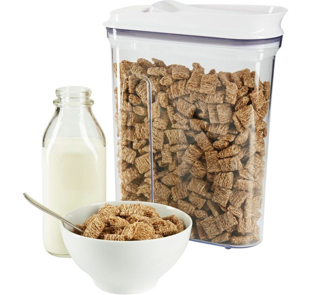 OXO Cereal Dispenser next to milk and bowl