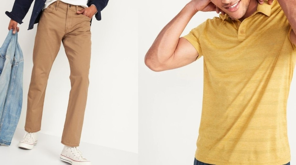 two men wearing Old Navy Pants and Polo