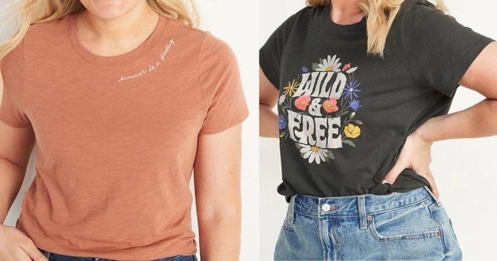 two women wearing t-shirts