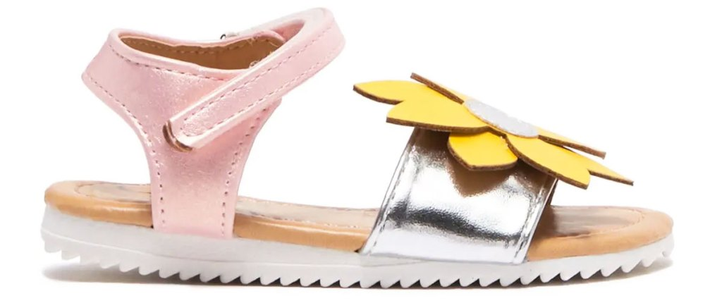 girls pink sandals with yellow sunflower