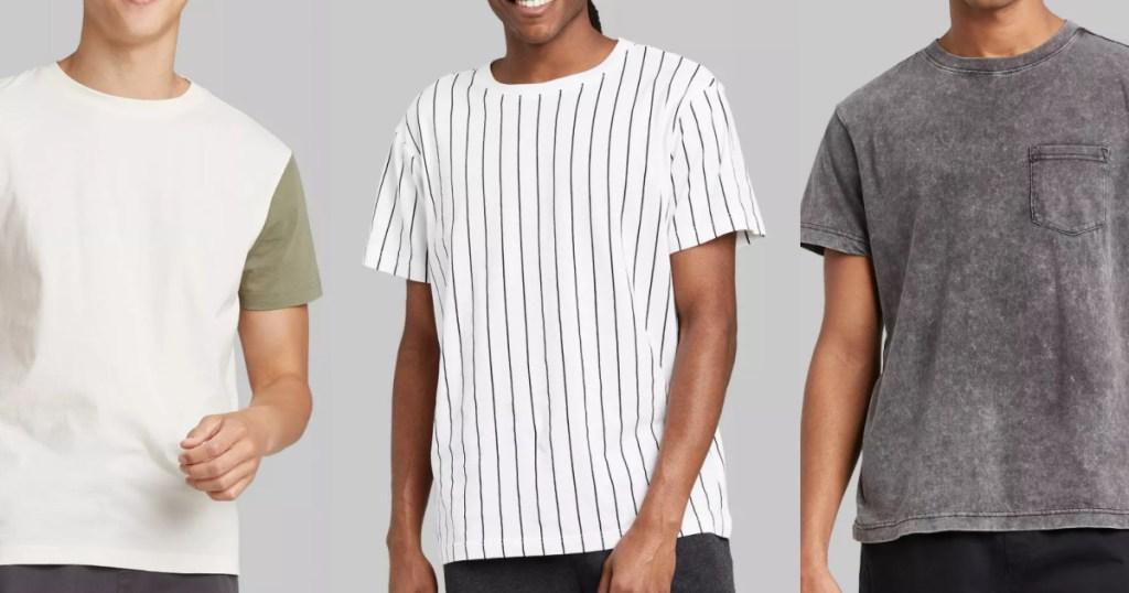 3 men wearing original use t shirts