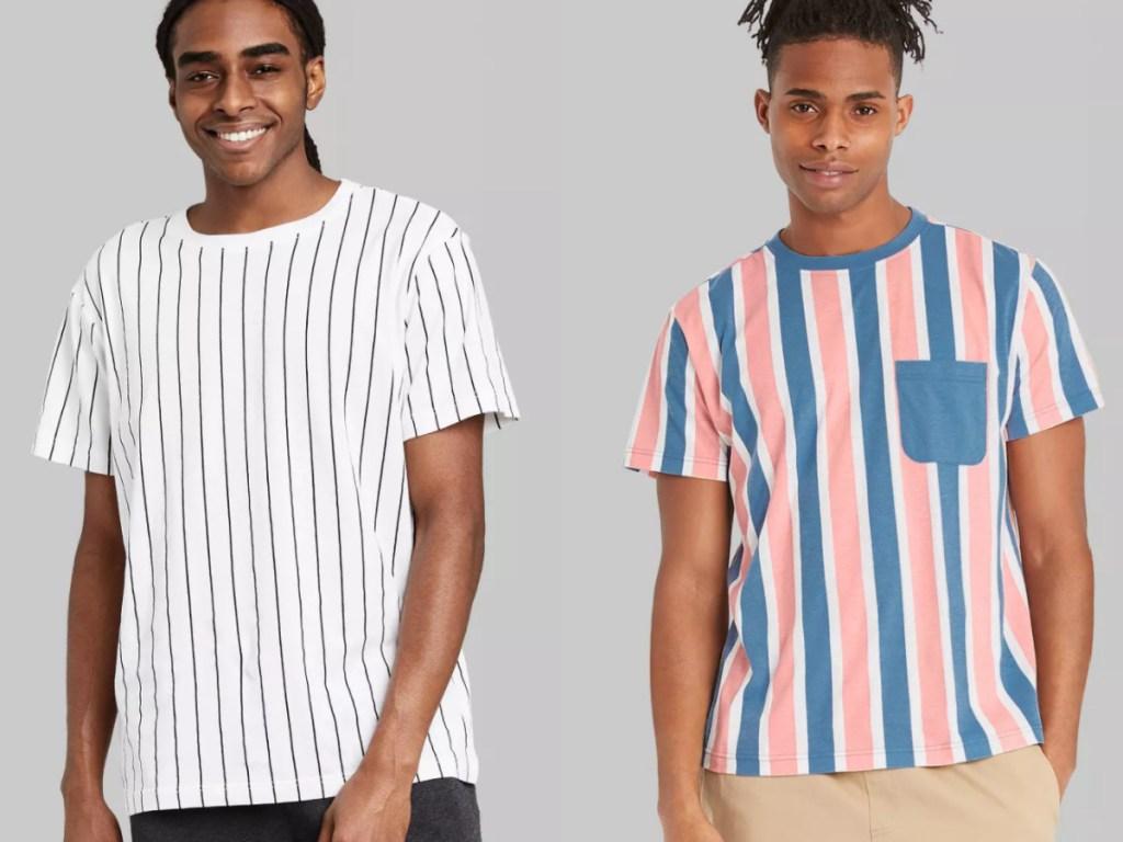 2 men wearing stripe shirts