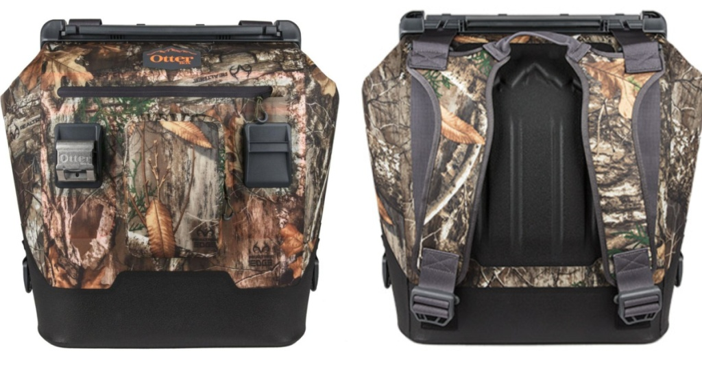 front and back images of otterbox Forest Edge Camo cooler