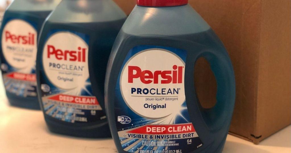 Persil ProClean 100oz bottles by a box