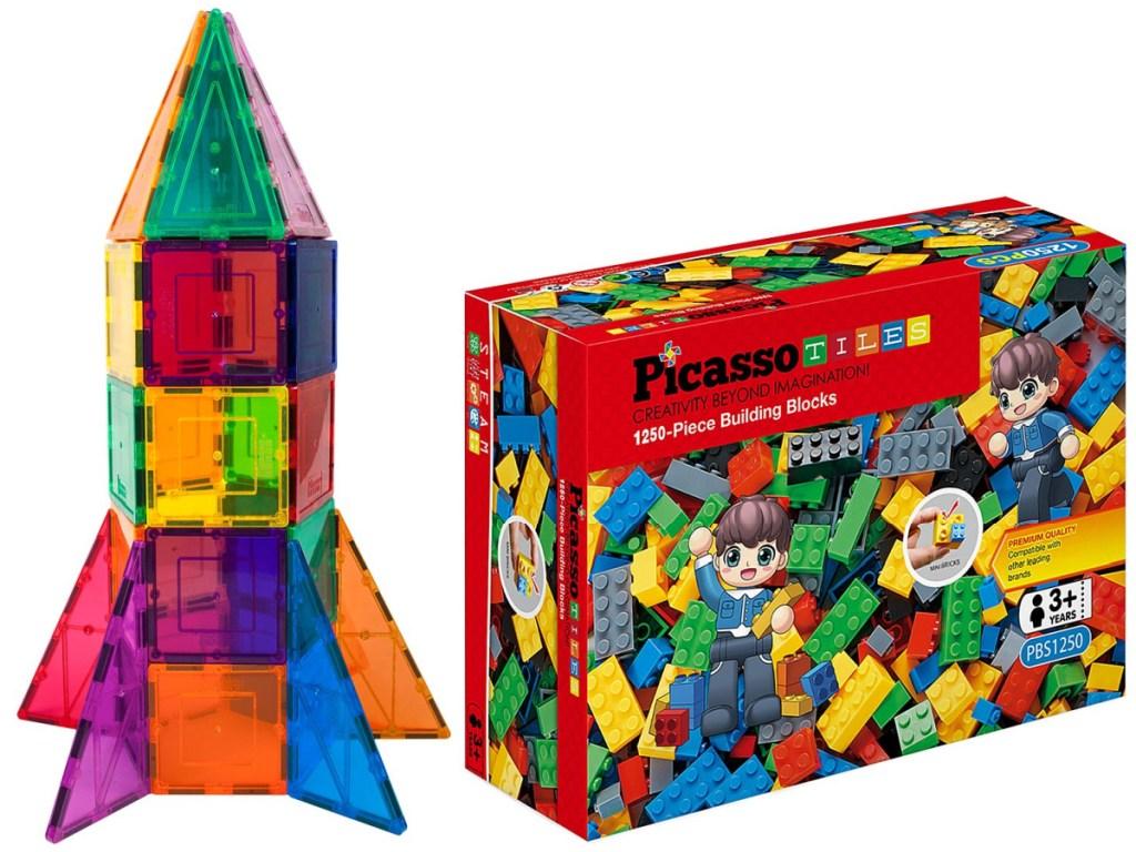 PicassoTiles Rocket and Building Block Sets
