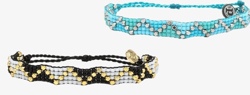 two styles of beaded bracelets