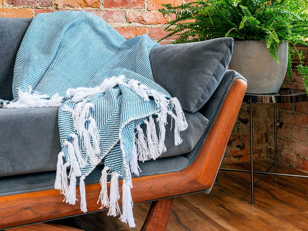 Refinery29 Athena Collection Blue Premium Cotton Textured Throw Blanket