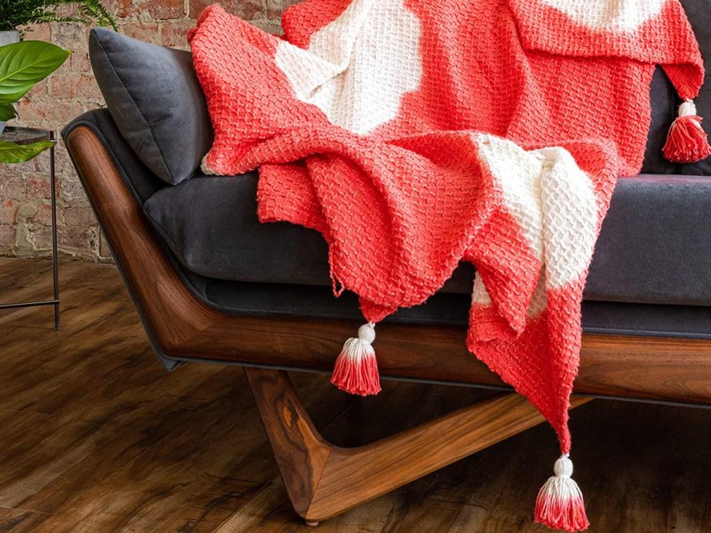 Refinery29 Arden Bedding Collection Orange Premium Cotton Textured Throw Blanket