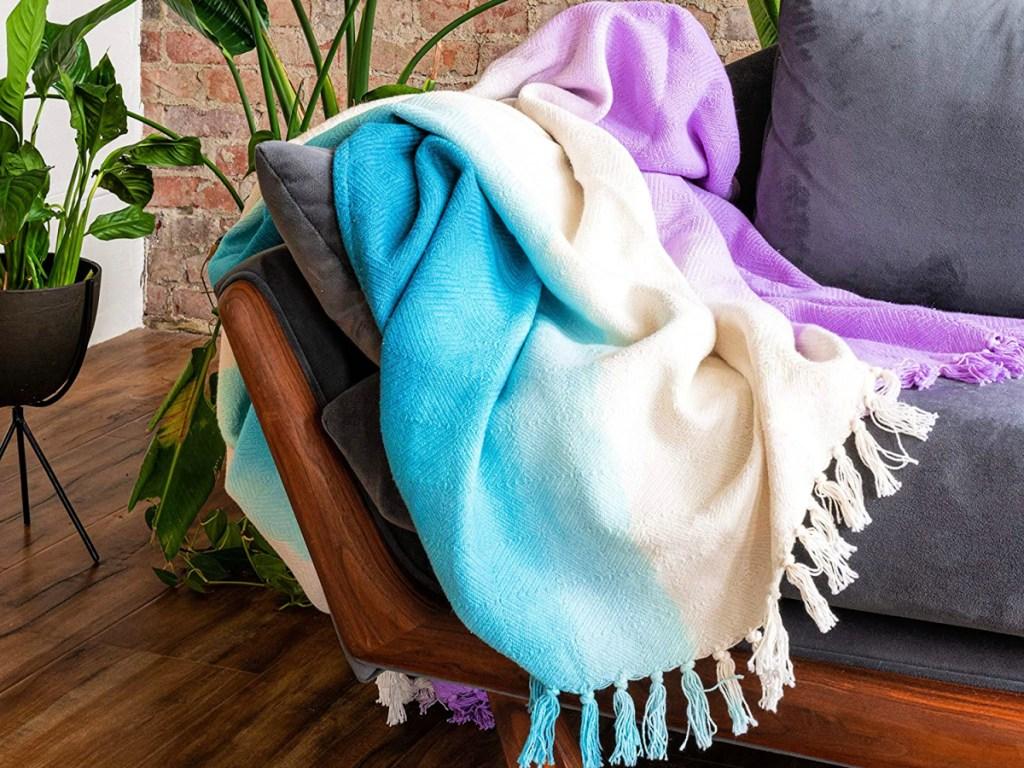 Refinery29 Riley Collection Purple Premium Cotton Textured Throw Blanket