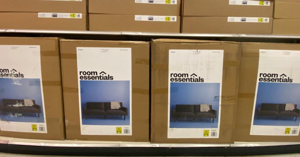 black futons in box on shelf