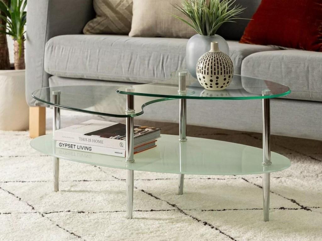 Saracina Home Glass Oval Living Room Metal Coffee Table