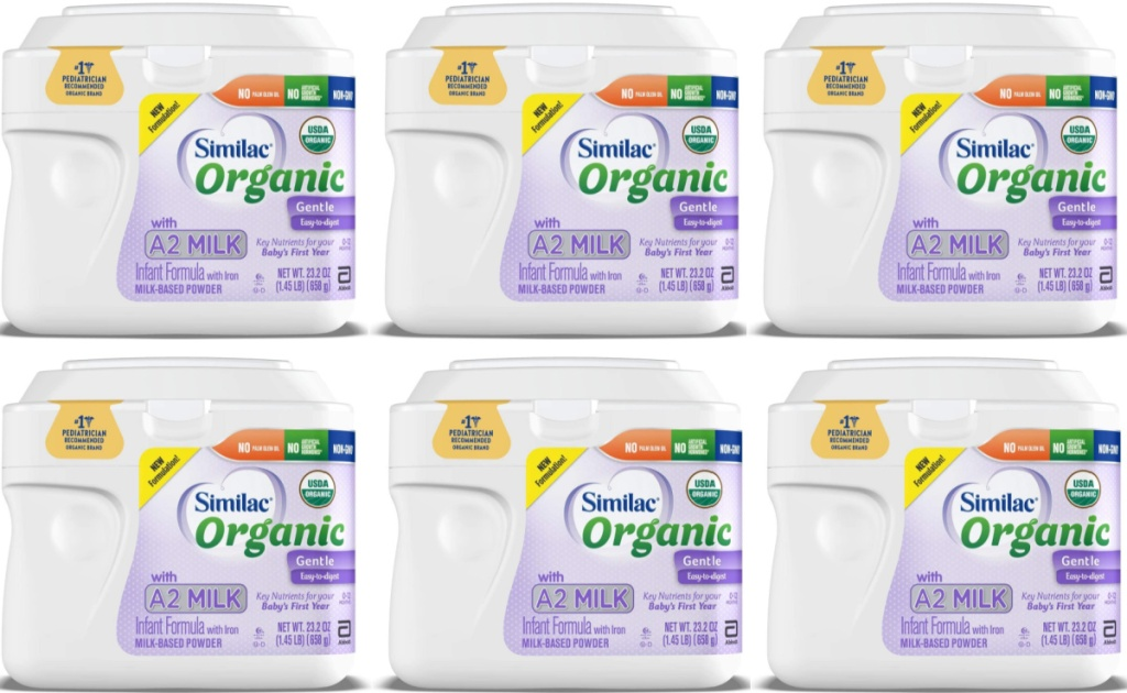 six containers of Similac Organic formula