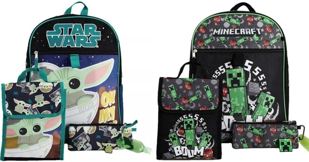 Star Wars and Minecraft Kids Backpack Sets
