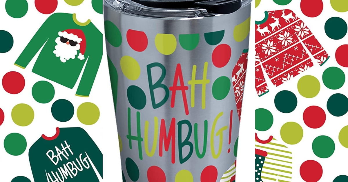 Ugly sweater tervis tumbler with ugly sweater images beside it