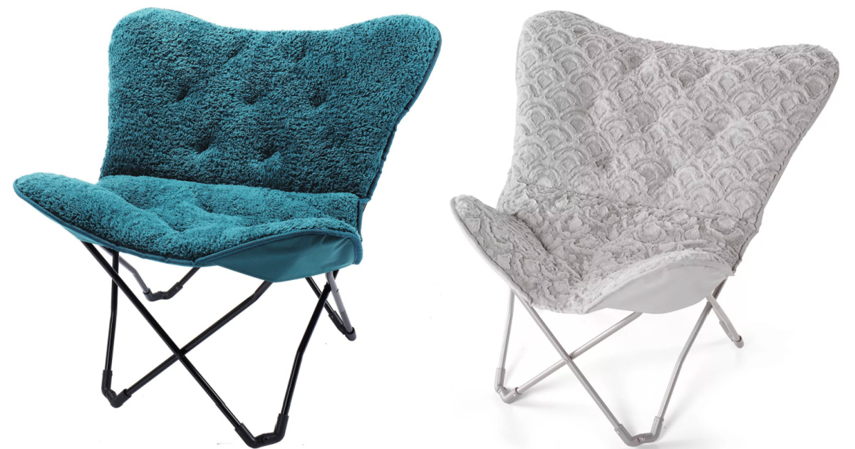 teal and gray butterfly chairs