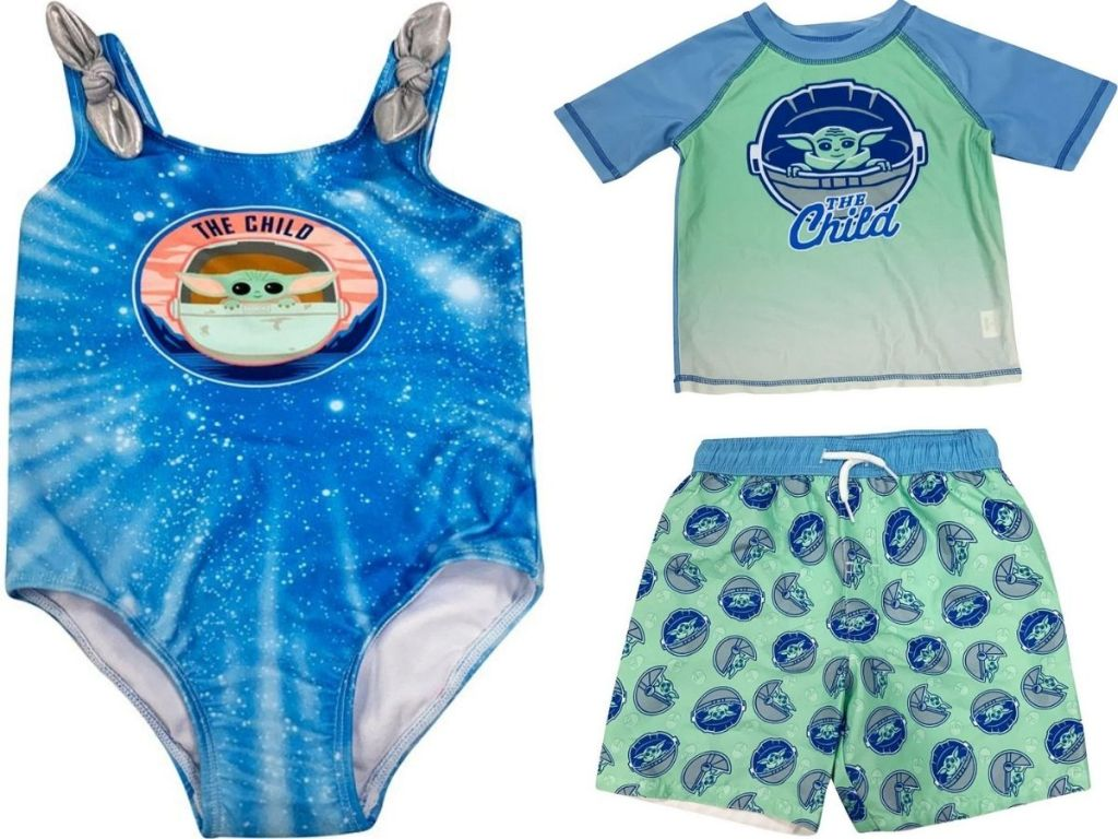 The Child swimsuit, rashguard and swim trunks