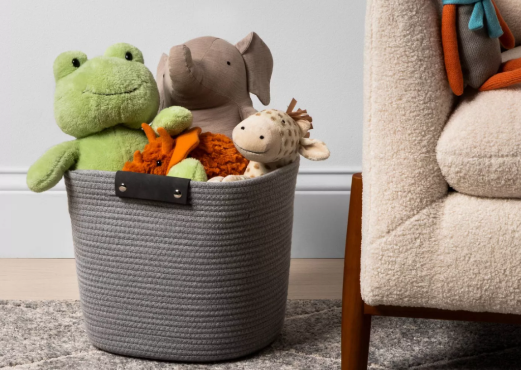 basket with toys in it
