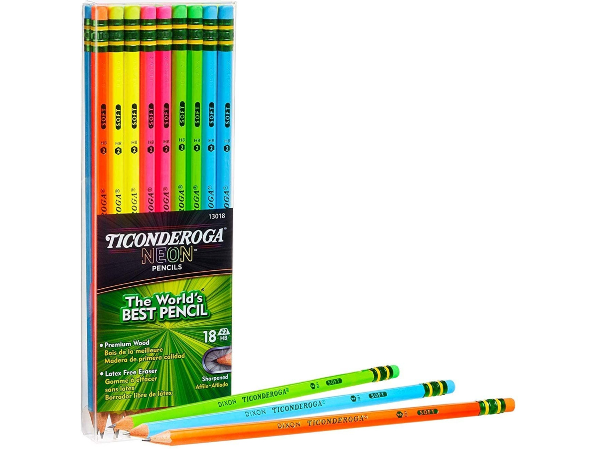 Ticonderoga Neon #2 Pre-Sharpened Pencils with Erasers 18-Pack