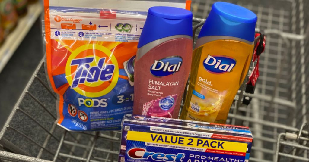 laundry detergent, body wash and toothpaste in cart