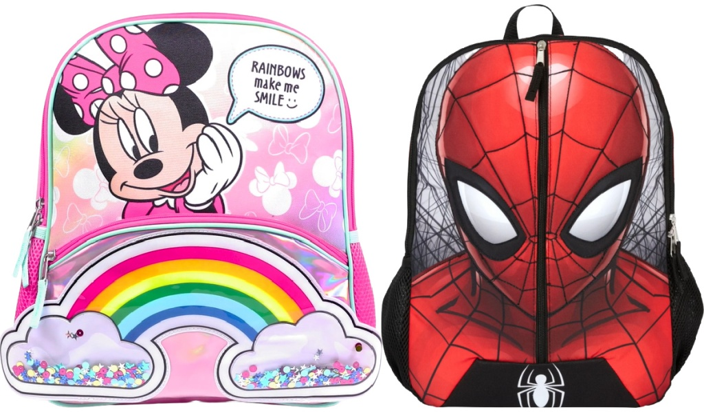 Toddler Girls Minnie Mouse Backpack and Boys Spider Man Backpack
