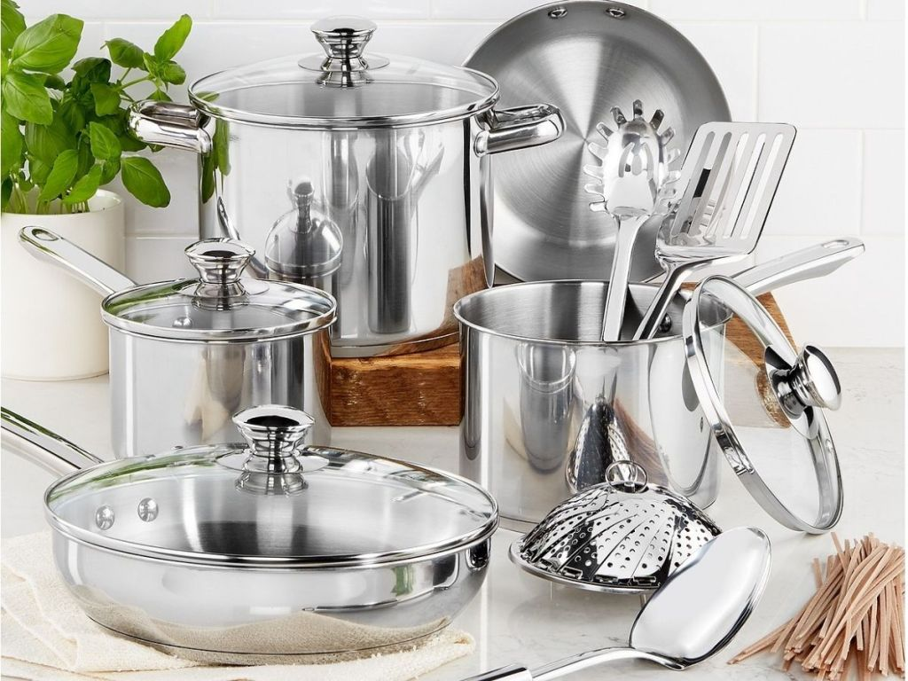 stainless steel pots pans and utensils