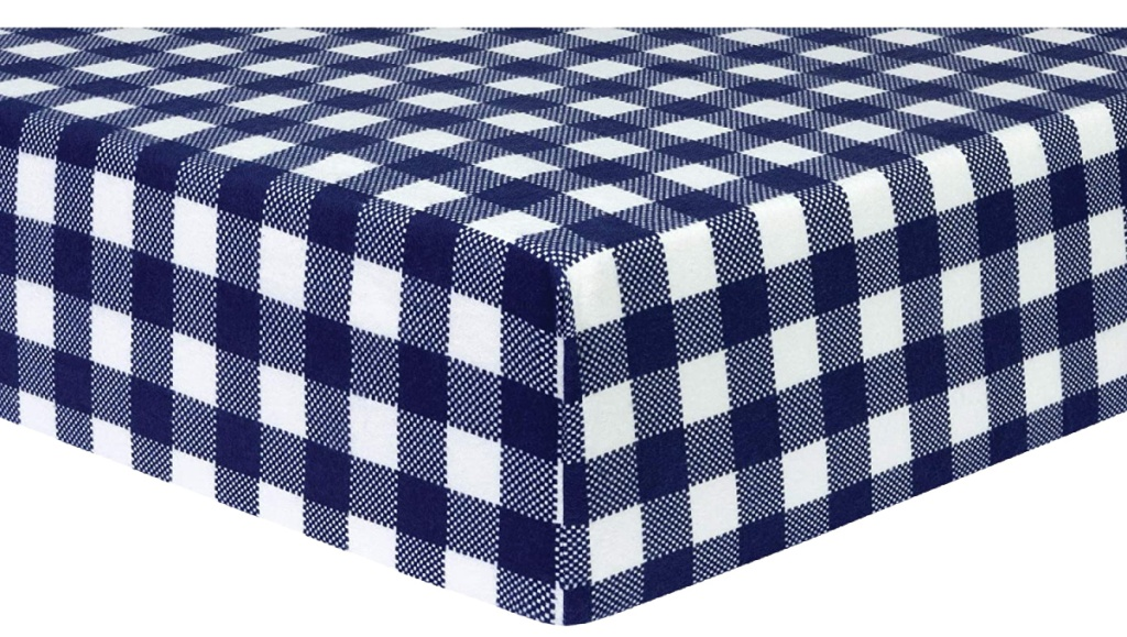 Trend Lab Deluxe Flannel Fitted Crib Sheet, Navy and White Buffalo Check