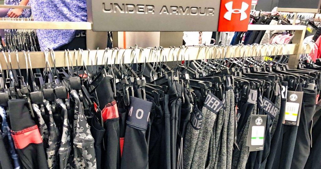 rack of under armour apparel