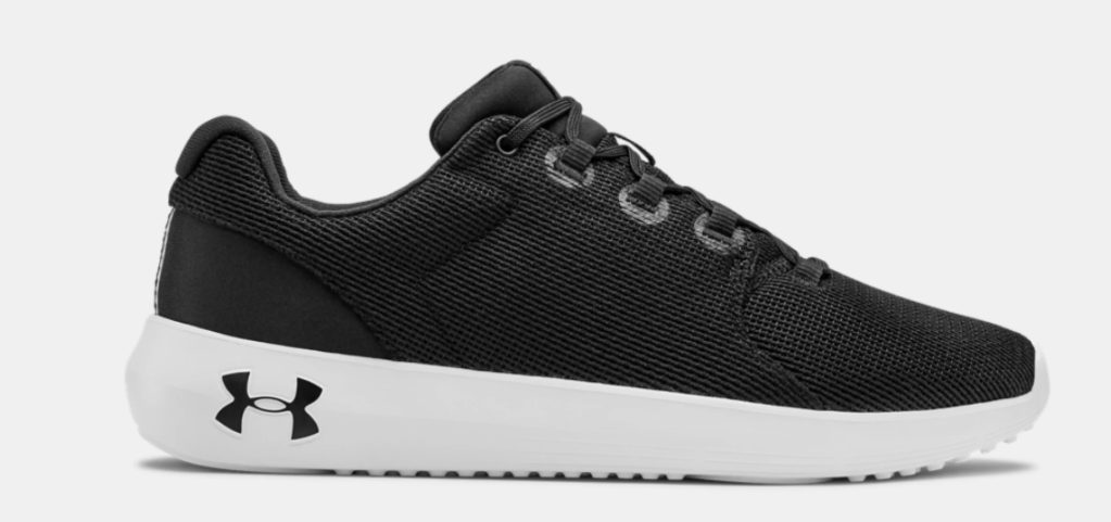 black and white Under Armour sneaker