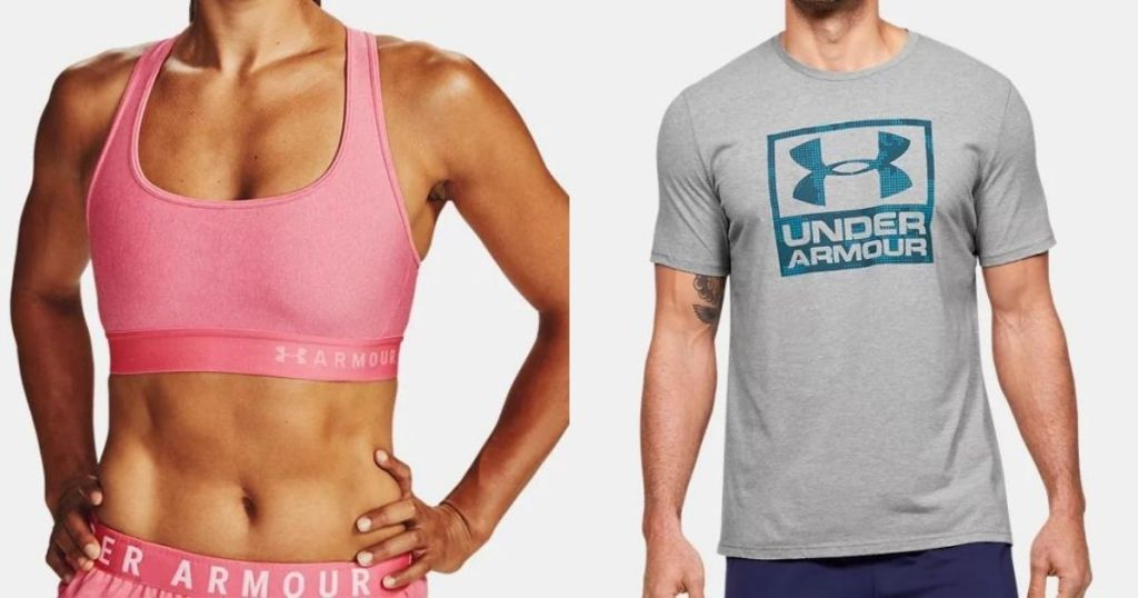 woman in a sports bra and a man in a t-shirt