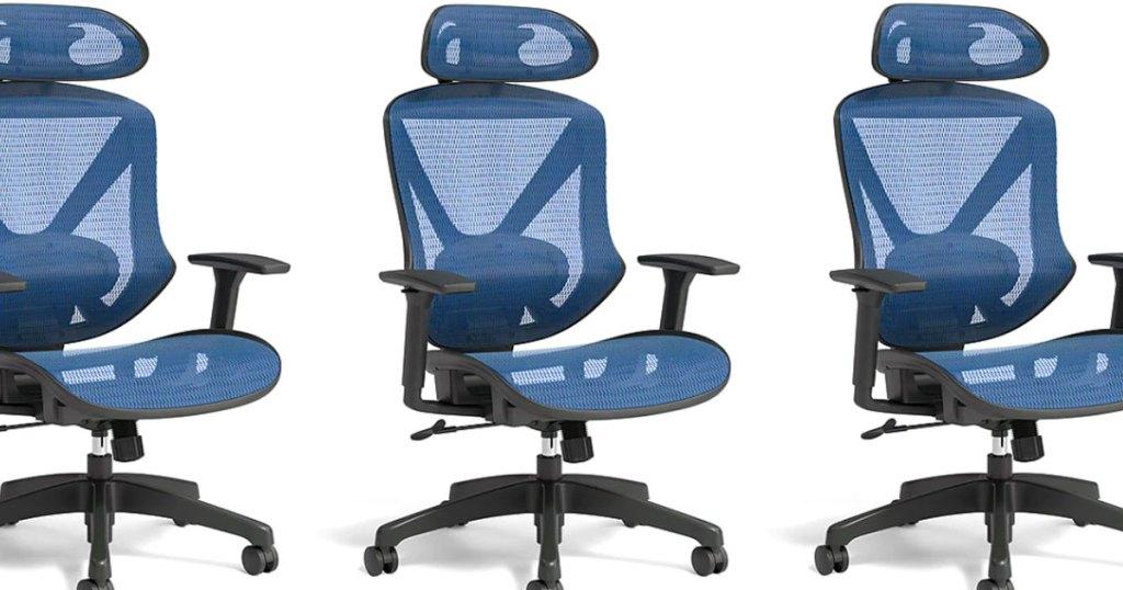 three blue mesh computer chairs