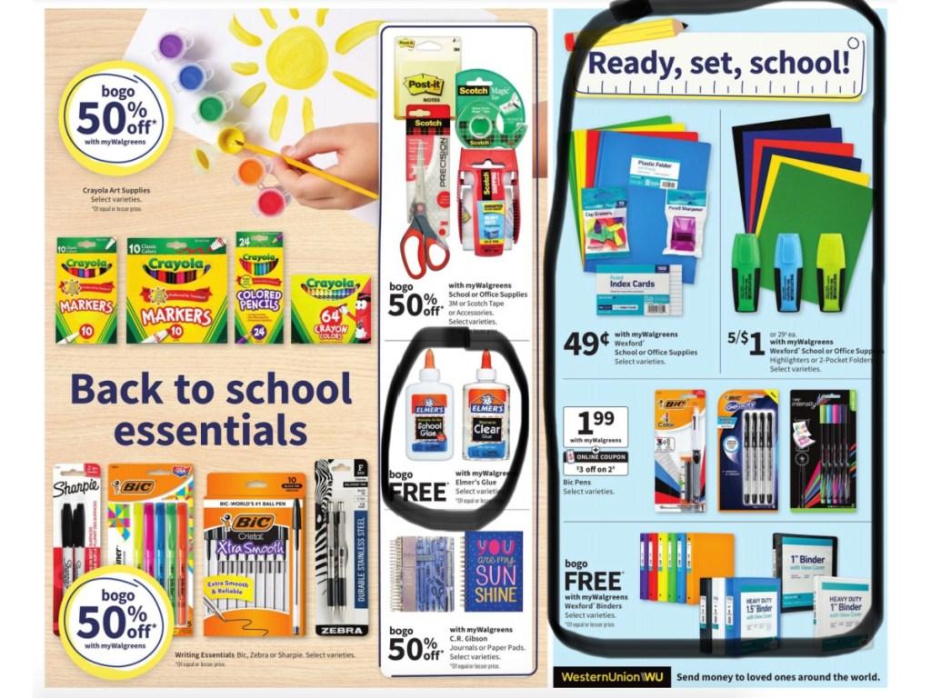 back to school supplies at walgreens