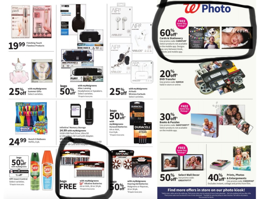 walgreens batteries and photo ad page
