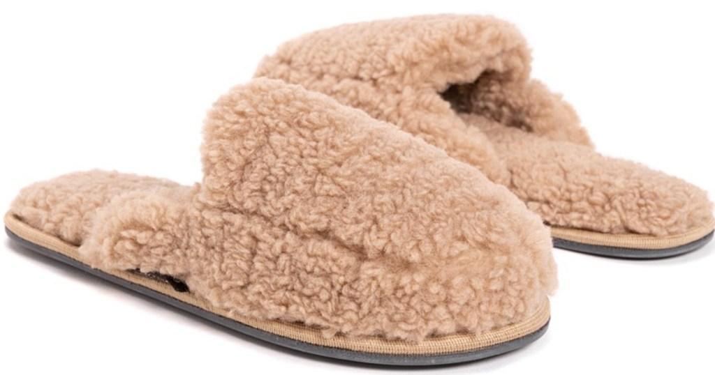 tan muk luks scuff slippers