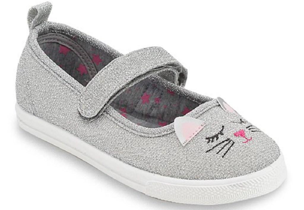 little girls grey kitty sneakers