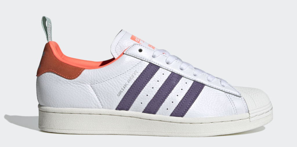 white, orange and purple sneakers