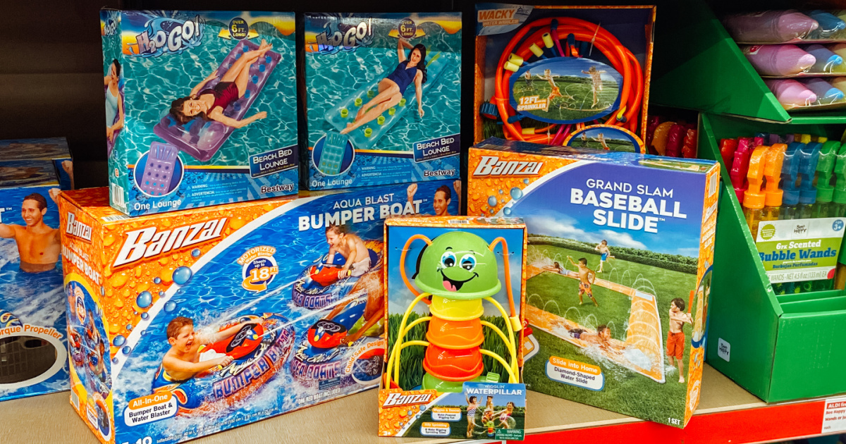 store shelf with water toys displayed